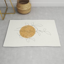 Yellow Sun and Flowers / Minimalist Line `Art  Rug