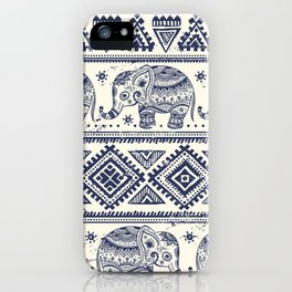 Vintage graphic vector Indian lotus ethnic elephant iPhone Case