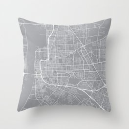 Baton Rouge Map, Louisiana USA - Pewter Throw Pillow