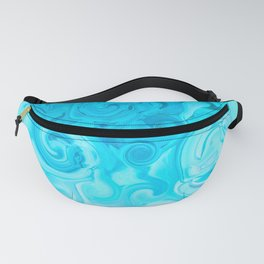white turquoise blue whirl abstract digital painting Fanny Pack