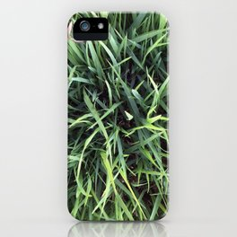 Trendy Grass Pattern  in Vivid Shades of Green iPhone Case