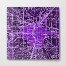 Denver Colorado map, year 1958, purple filter Metal Print
