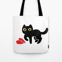 black cartoon kitten with broken heart Tote Bag