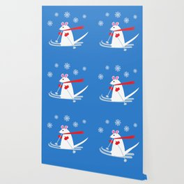 Christmas Mouse on Skis Wallpaper