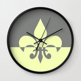 Grey and Yellow Fleur De Lis Wall Clock