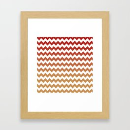 red cheveron ikat ombre Framed Art Print