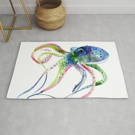Blue Rainbow Octopus decor octopius lover gift Rug