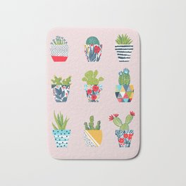 Funny cacti illustration Bath Mat