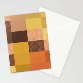 Fall Mustard Orange Golden Brown Checkered Gingham Patchwork Color Stationery Cards