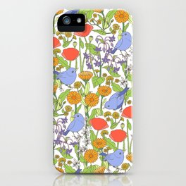 Birds and Wild Blooms iPhone Case