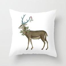 Artsy Christmas reindeer Throw Pillow
