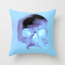 Cyan Skull Throw Pillow