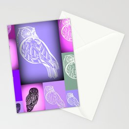 purple owls with pink and green Stationery Cards