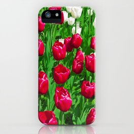 Vibrant Red And White Floral - Tulip Festival iPhone Case