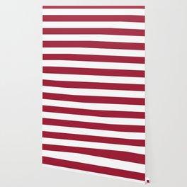Vivid burgundy - solid color - white stripes pattern Wallpaper