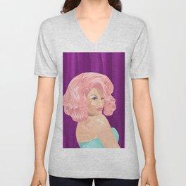 Bubble Gum Pink Hair Drag Queen Unisex V-Neck
