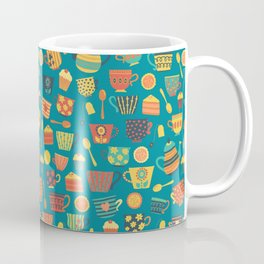 Vintage tea party - tea cups and sweets - teal Coffee Mug