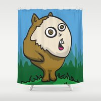 furry Shower Curtains featuring Furry Creature by Brandon Woodall