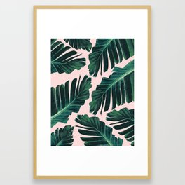 Tropical Blush Banana Leaves Dream #1 #decor #art #society6 Framed Art Print