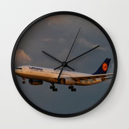 A Lufthansa Plane Peparing For Landing Wall Clock