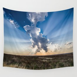 Explosion - Sunbeams Burst From Behind Storm Cloud in Kansas Wall Tapestry