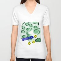 brasil V-neck T-shirts featuring Soccer Brasil by LoRo  Art & Pictures