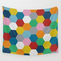 honeycomb Wall Tapestries featuring Honeycomb 2 by Project M