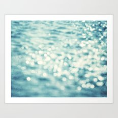 Sparkly Water Abstract Photography, Aqua Blue Sparkle Art Art Print
