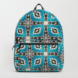 'Ezekiel' in turquoise, black and white gouache seamless repeat by leah quinn Backpack