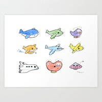 airplanes Art Prints featuring Cute Airplanes by Macy Wong