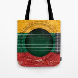 Old Vintage Acoustic Guitar with Lithuanian Flag Tote Bag