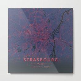 Strasbourg, France - Neon Metal Print