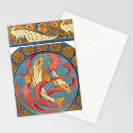 Maurice Pillard Verneuil - Paons et pavots, bordure Stationery Cards