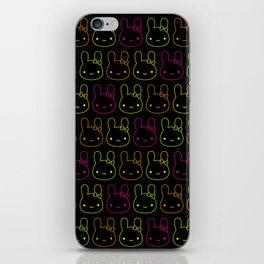 Kawaii Neon Bunny Bows iPhone Skin