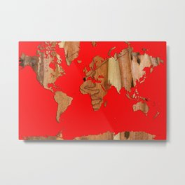Wood bark - Red - Organic World Map Series Metal Print