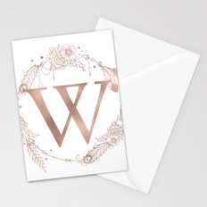 Letter W Rose Gold Pink Initial Monogram Stationery Cards