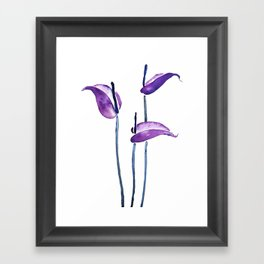 three purple flamingo flowers Framed Art Print