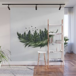 Earth Feather • Green Feather (horizontal) Wall Mural