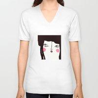 geisha V-neck T-shirts featuring Geisha by Alfonnew Shop