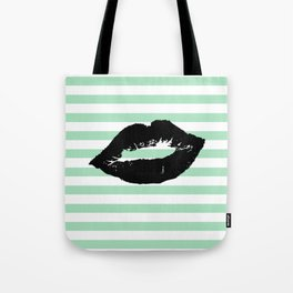 Pastel Goth - Mint Stripes and Lips 1 Tote Bag