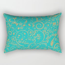 Gold and turquoise Rectangular Pillow