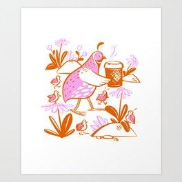Cafe La Quail Art Print