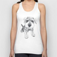 schnauzer Tank Tops featuring Schnozz the Schnauzer by Beth Thompson