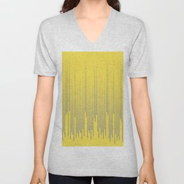 Minimal Frequency Line Art Pattern Pantone 2021 Color Of The Year Illuminating and Ultimate Gray  Unisex V-Neck