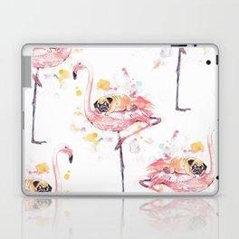 Flamingo and Pug Watercolor Laptop & iPad Skin