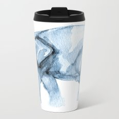 Elephant Sketch in Blue Metal Travel Mug