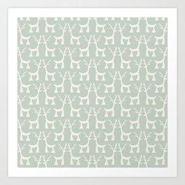 Little Christmas deers pastel pattern Art Print
