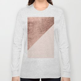 Minimalist blush pink rose gold color block geometric Long Sleeve T-shirt