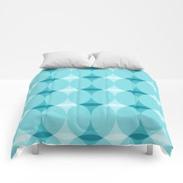 Circles and Diamonds Turquoise Comforters