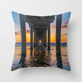 Under Scripps Pier Throw Pillow